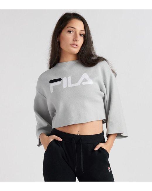 23f426b849 Fila - Gray Palmira Crop Sweater - Lyst ...
