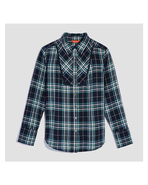 lyst joe fresh bib trim plaid shirt in blue save 42. Black Bedroom Furniture Sets. Home Design Ideas