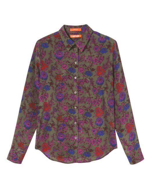 Joe Fresh Silk Button Down Shirt In Purple Lyst