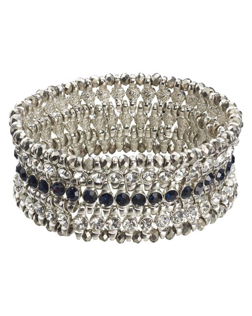 Joe Fresh - Blue Crystal Statement Bracelet - Lyst