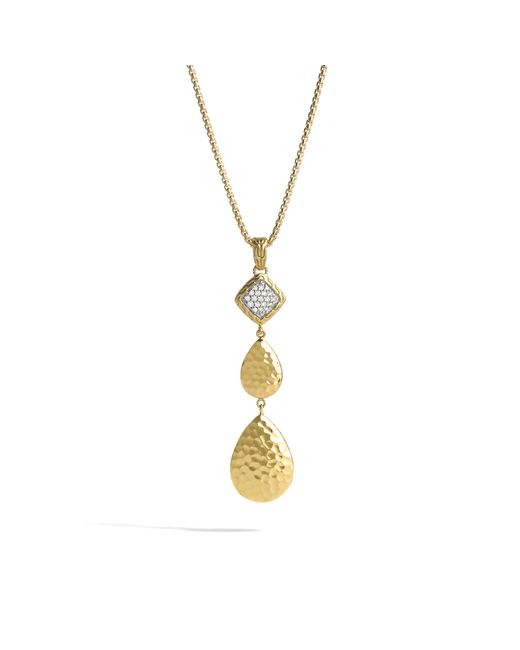 John Hardy | Metallic Classic Chain Hammered Pendant Necklace With Diamonds | Lyst
