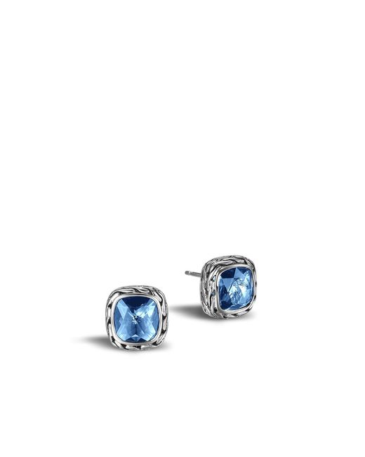 John Hardy | Classic Chain Stud Earring With Blue Topaz | Lyst
