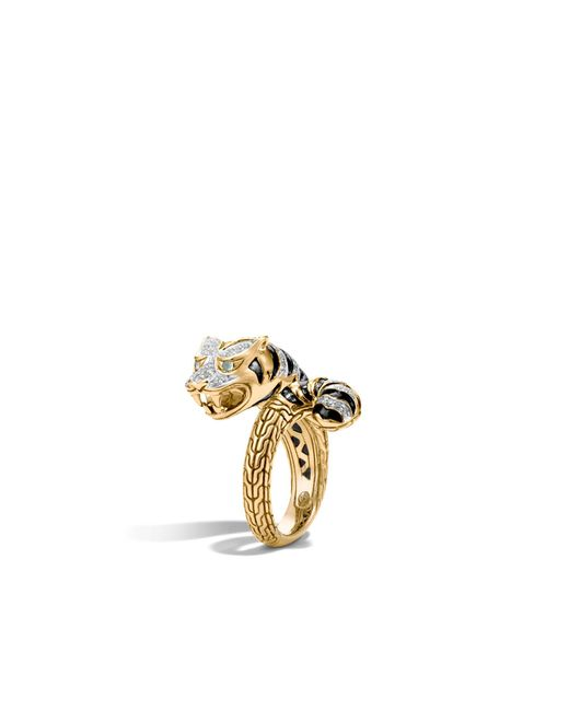 John Hardy | Blue Macan Bypass Ring With Diamonds | Lyst