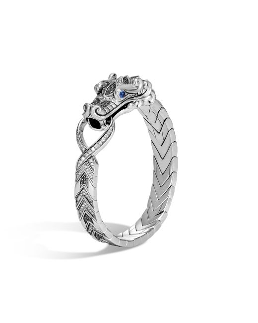 John Hardy | Gray Naga Station Bracelet, Black Sapphire And Spinel, Grey Dia for Men | Lyst