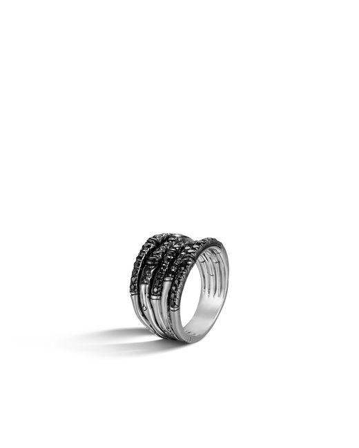 John Hardy Metallic Bamboo Ring With Black Sapphire