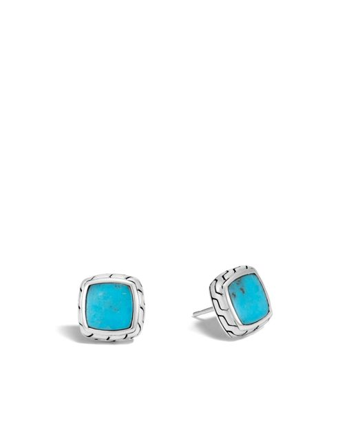 John Hardy - Multicolor Classic Chain Stud Earring With Turquoise - Lyst