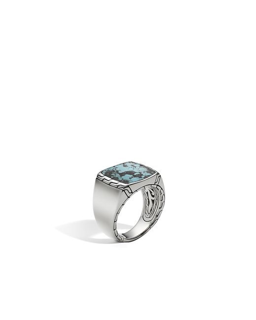 John Hardy - Multicolor Classic Chain Signet Ring With Turquoise for Men - Lyst