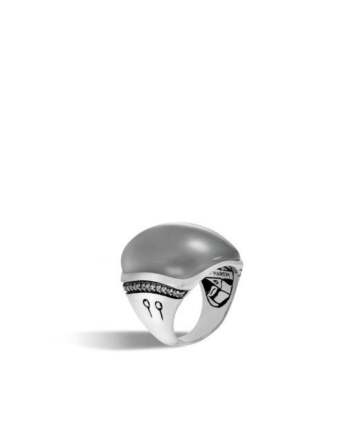 John Hardy | Gray Bamboo Ring With Grey Moonstone And Diamonds | Lyst