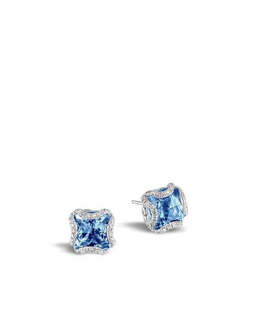 John Hardy   Classic Chain Stud Earring, London Blue Topaz And Diamonds   Lyst