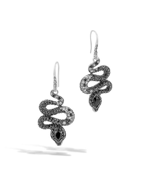John Hardy   Cobra Drop Earring With Black Chalcedony And Diamonds   Lyst