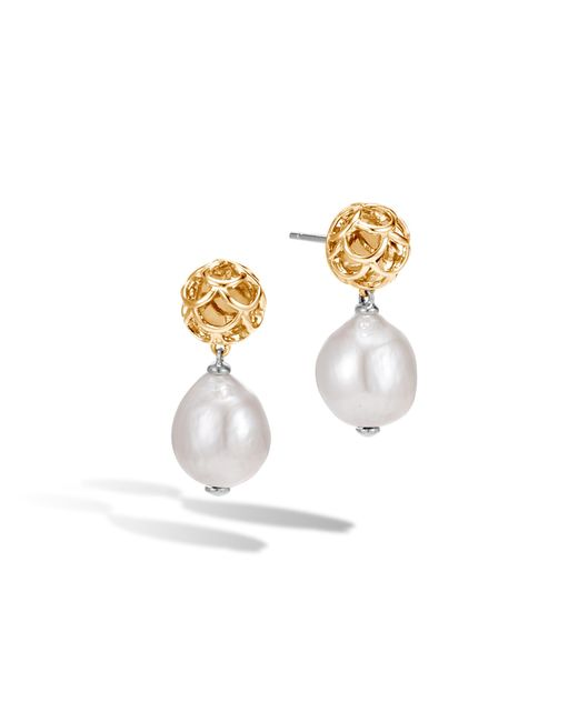 John Hardy | Multicolor Naga Drop Earring With Pearl | Lyst