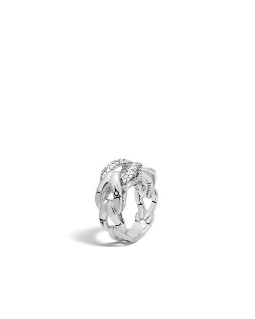John Hardy   White Bamboo Ring With Diamonds   Lyst