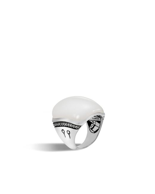 John Hardy | Bamboo Ring With White Moonstone And Diamonds | Lyst