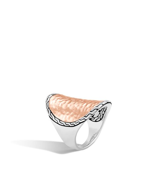 John Hardy - Pink Classic Chain Hammered Saddle Ring - Lyst