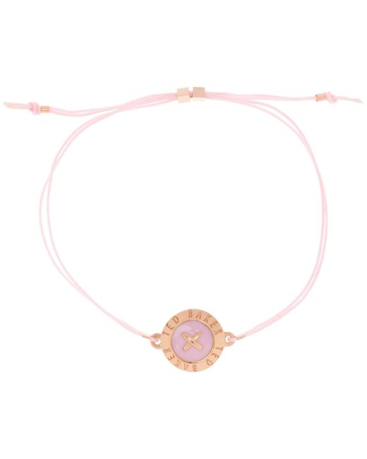 Ted Baker | Pink Ellysia Large Button Cord Bracelet | Lyst