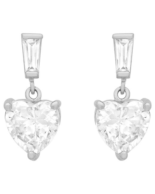 Ib&b | Metallic 9ct White Gold Cubic Zirconia Heart Drop Earrings | Lyst