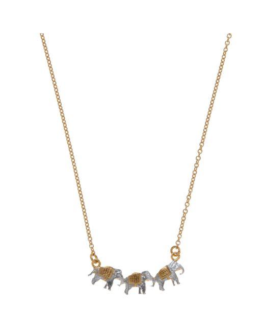 Alex Monroe   Metallic 22ct Gold Vermeil Elephant Trio Necklace   Lyst
