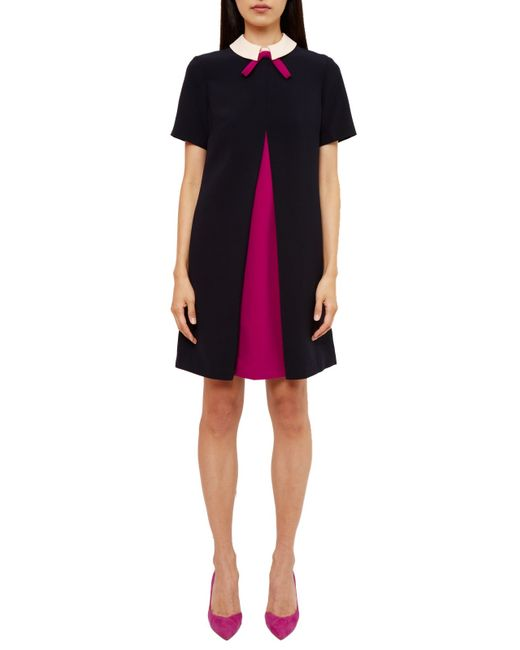 Ted Baker Wonce Contrast Pleat Bow Tunic Dress In Blue Lyst