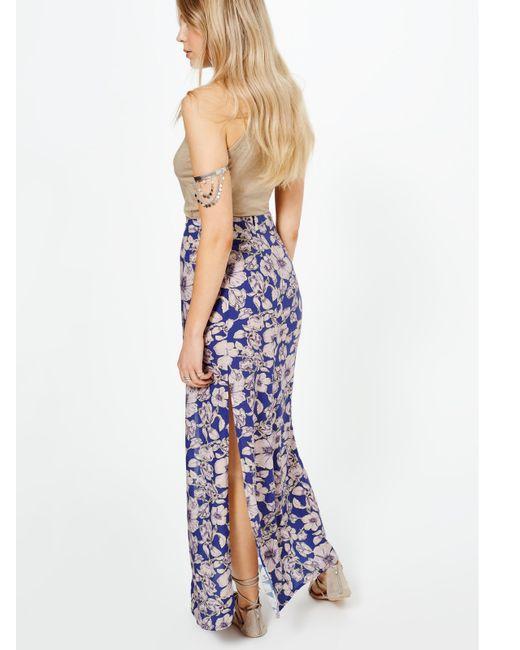 miss selfridge floral maxi skirt in blue lyst