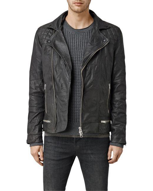 AllSaints | Black Rowley Leather Biker Jacket for Men | Lyst
