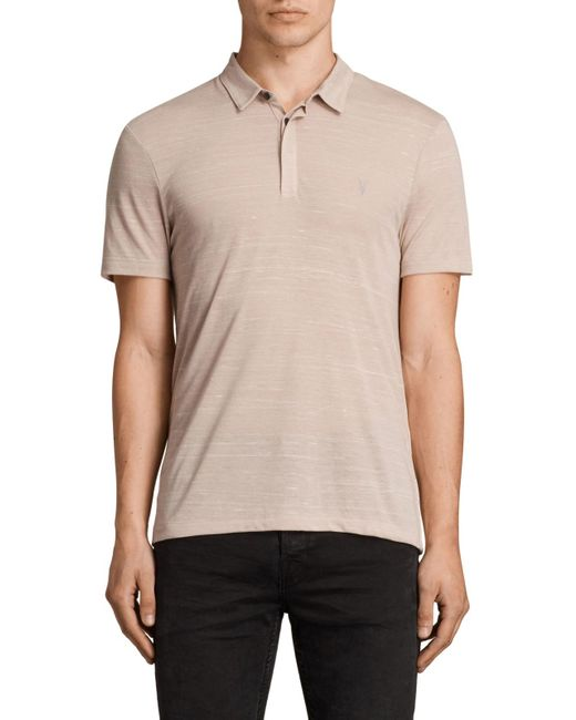Allsaints stanley polo shirt in pink for men lyst for All saints polo shirt