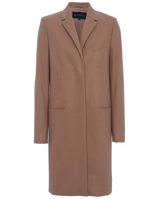 French Connection | Brown Platform Felt Long Sleeve Coat | Lyst