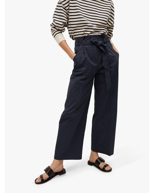 Mango Blue Belted Cotton Blend Trousers