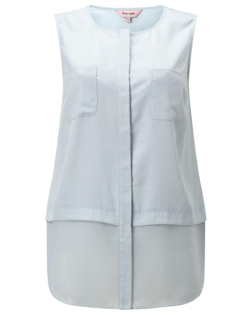 Phase Eight - Blue Megan Woven Mix Sleeveless Top - Lyst