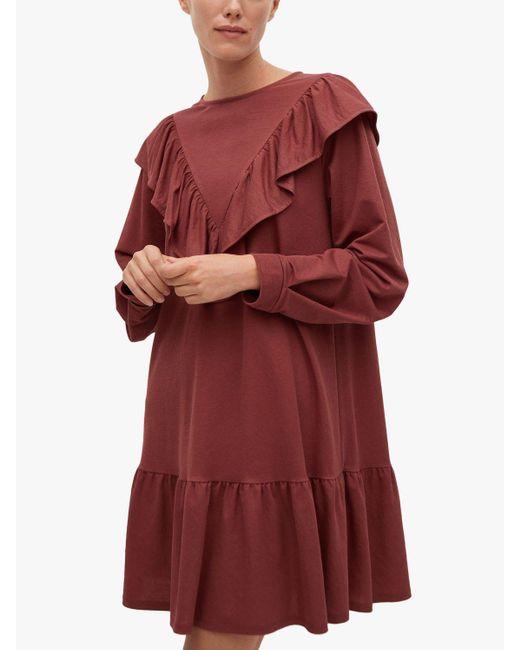 Mango Pink Flowy Ruffled Smock Dress