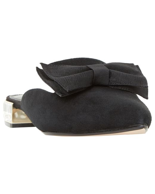 Dune | Black Doe Bow Mule Loafers | Lyst