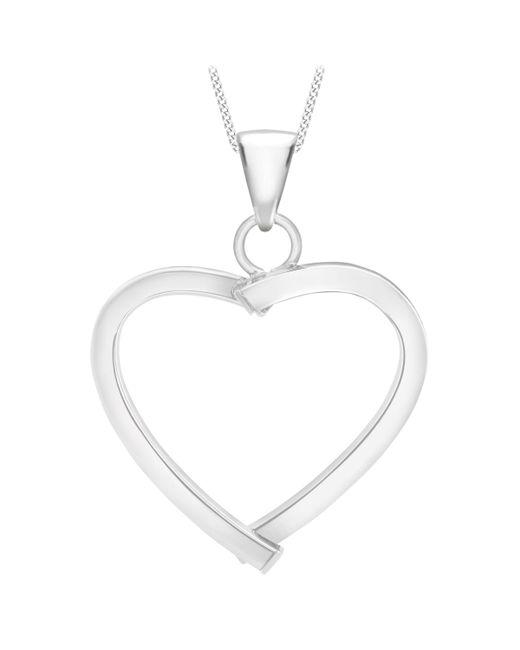 Ib&b - 9ct White Gold Mini Square Tube Heart Pendant - Lyst