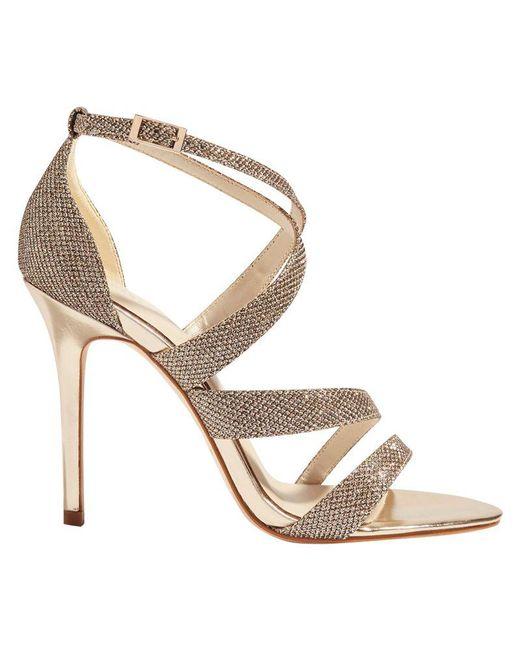 Karen Millen - Metallic Glitter Strap Sandals - Lyst