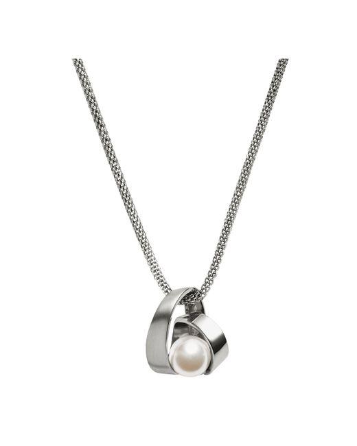 Skagen - Metallic Agnethe Twirl Crystal Pearl Pendant Necklace - Lyst