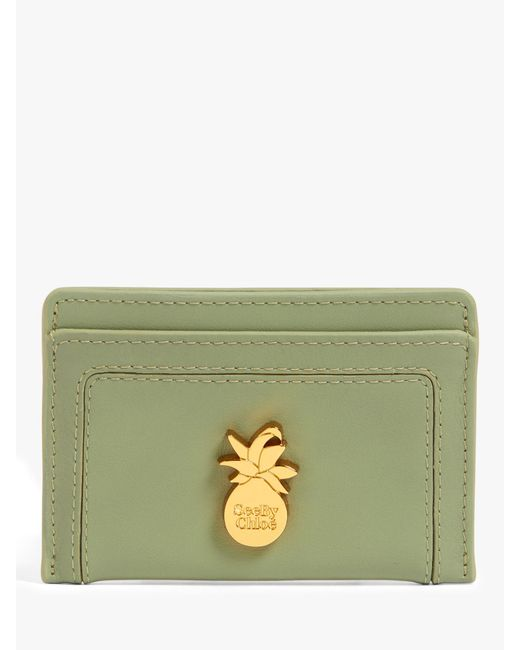 See By Chloé Green Pineapple Small Leather Card Holder