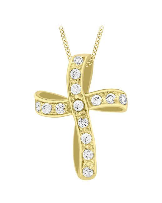 Ib&b - Metallic 9ct Yellow Gold Twisted Cubic Zirconia Cross Pendant - Lyst