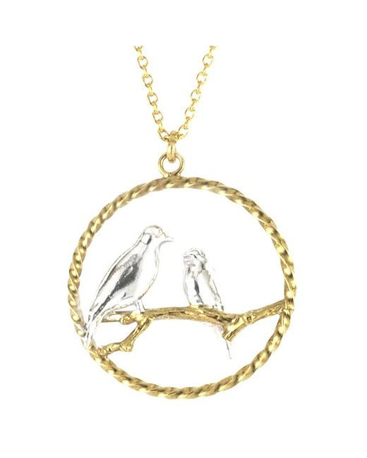 Alex Monroe | Metallic Lovebirds In Loop Pendant Necklace | Lyst