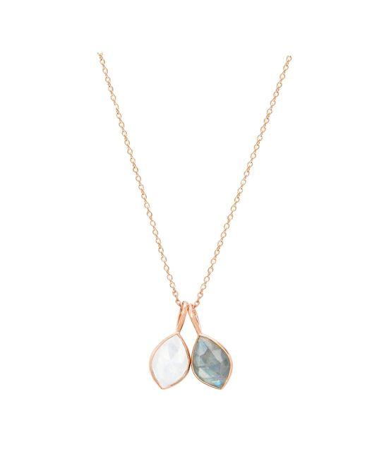 Auren   Metallic 18ct Rose Gold Vermeil Labradorite And Rainbow Moonstone Double Marquise Pendant Necklace   Lyst