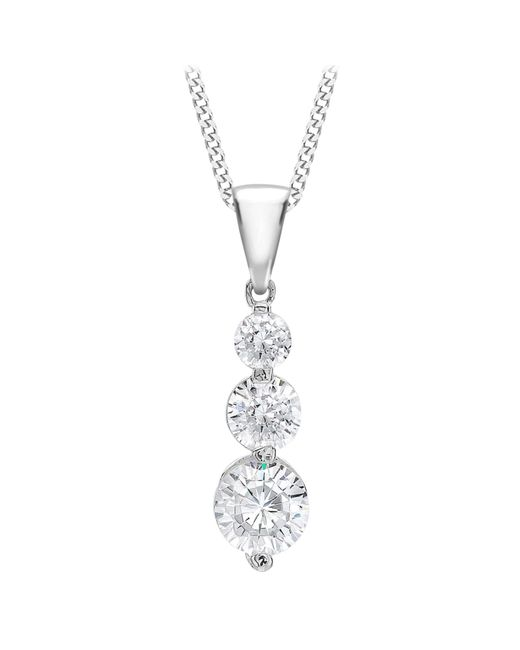 Ib&b | Metallic 9ct White Gold Curb Chain Trilogy Pendant Necklace | Lyst