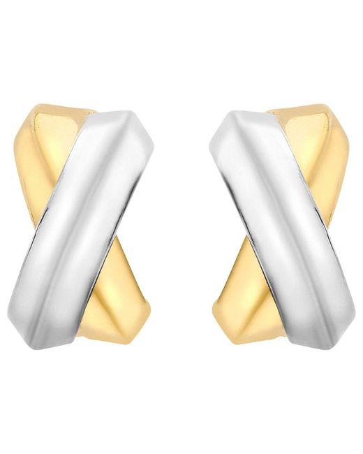 Ib&b   Metallic 9ct Gold Two Colour Crossover Kiss Stud Earrings   Lyst