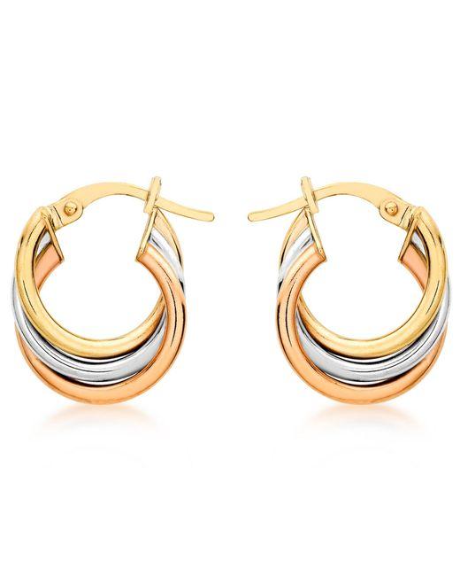 Ib&b | Multicolor 9ct Gold Three Colour Hoop Earrings | Lyst
