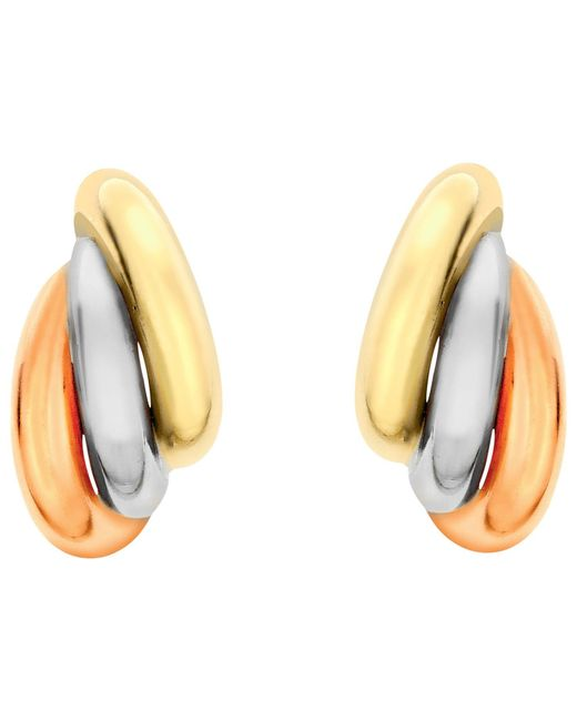 Ib&b | Metallic 9ct Gold Three Colour Russian Stud Earrings | Lyst