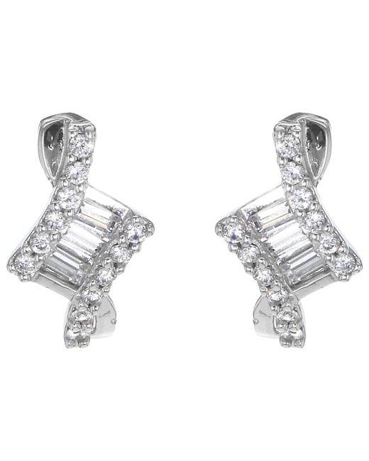 Ib&b | Metallic 9ct White Gold Cubic Zirconia Stud Earrings | Lyst