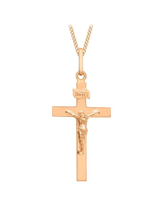 Ib&b | Metallic 9ct Rose Gold Crucifix Pendant | Lyst
