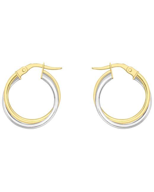 Ib&b   Metallic 18ct Gold Two Colour Double Tube Creole Earrings   Lyst
