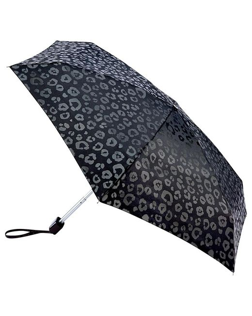 Fulton   Black Tiny Luxury Leopard Folding Umbrella   Lyst