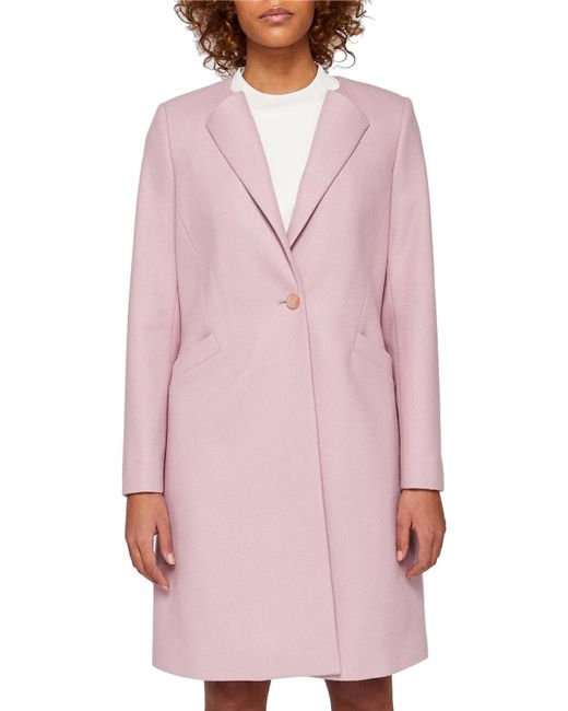Ted Baker | Pink Emiilio Collarless Wool Coat | Lyst