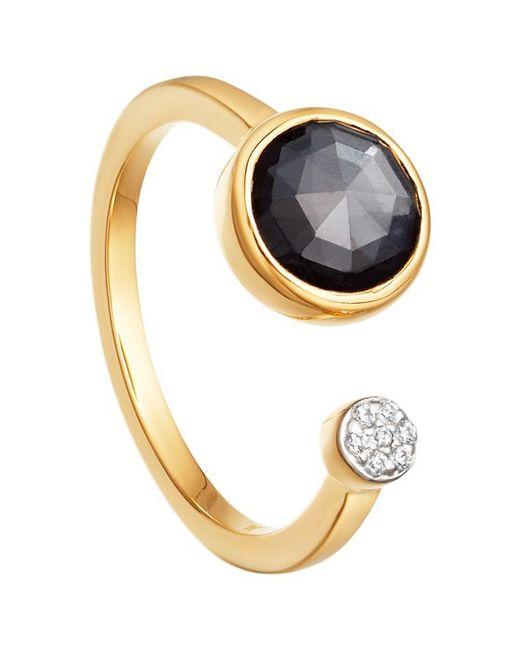 Missoma | Metallic 18ct Gold Vermeil Double Orbit Hematite And Zircon Pave Ring | Lyst