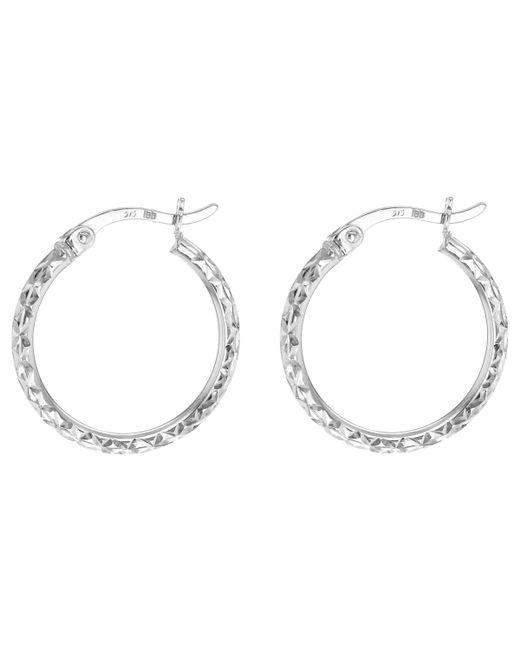 Ib&b - 9ct White Gold Diamond Cut Creole Hoop Earrings - Lyst