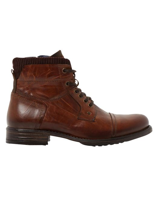 Dune   Brown Calabash Padded Cuff Leather Lace Boots for Men   Lyst