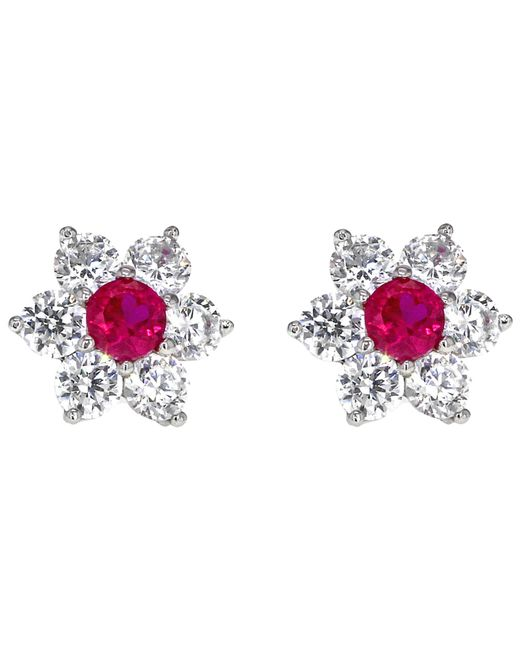 Ib&b   Pink 9ct White Gold Flower Cluster Stud Earrings   Lyst